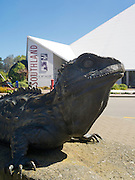 View of the large Tuatara statue in front of Southland Museum, Queens Park, Invercargill, New Zealand