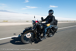 Bartek Mizerski riding his 1936 Sokol 1000 Polish motorcycle during stage 12 (299 m) of the Motorcycle Cannonball Cross-Country Endurance Run, which on this day ran from Springville, UT to Elko, NV, USA. Wednesday, September 17, 2014.  Photography ©2014 Michael Lichter.