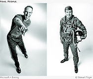 Man pointing at camera (Microsoft PocketPC ad). Boeing ad of test pilot in flight suit.