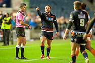 Rory Sutherland (#1) of Edinburgh Rugby points the way during the Guinness Pro 14 2018_19 match between Edinburgh Rugby and Toyota Cheetahs at BT Murrayfield Stadium, Edinburgh, Scotland on 5 October 2018.