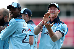 England's Ben Stokes applauds the crowd after Chris Woakes takes the catch to dismiss Pakistan's Imam-ul-Haq during the ICC Cricket World Cup group stage match at Trent Bridge, Nottingham.