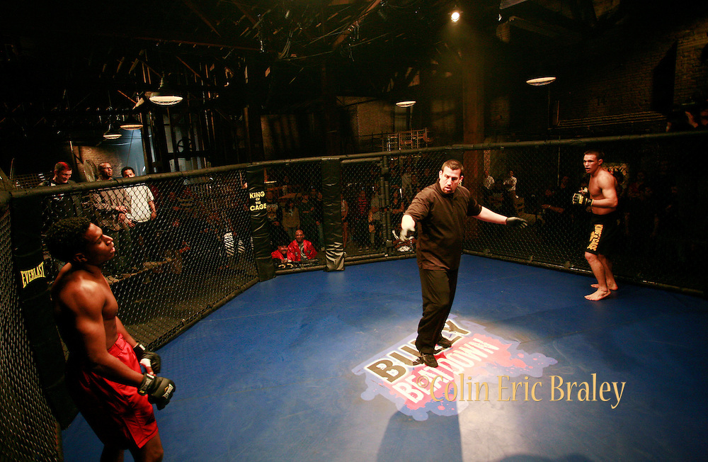 The fights. Still photography of Mark Burnett Productions February 2009 filming of the Mixed Martial Arts reality fight show, Bully Beat Down, with MMA fighter and host, Jason Mayhem Miller. The show airs on MTV. Photos by Colin Braley/Mark Burnett Productions