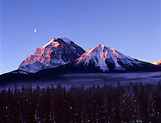 Mount Temple And Moon At Dawn. Lake Louise, AB