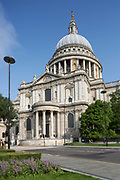 Outside St Paul's Cathedral on the 27th August 2018 in Central London in the United Kingdom. St Pauls Cathedral is an Anglican cathedral and the seat of the Bishop of London and the mother church of the Diocese of London. It located on Ludgate Hill at the highest point of the City of London and is a Grade I listed building.