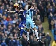 Pedro of Chelsea tussles with Leroy Sane of Manchester City during the Premier League match at the Etihad Stadium, Manchester. Picture date: December 3rd, 2016. Pic Simon Bellis/Sportimage