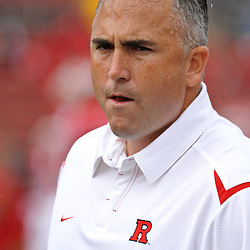 Sep 12, 2009; Piscataway, NJ, USA;  Assistant head coach Kyle Flood looks on during warmups before Rutgers' 45-7 victory over Howard in NCAA College Football at Rutgers Stadium.