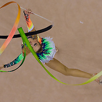 Melitina Staniouta (BLR) performs with the ribbon during the final of the 2nd Garantiqa Rythmic Gymnastics World Cup held in Debrecen, Hungary. Sunday, 07. March 2010. ATTILA VOLGYI