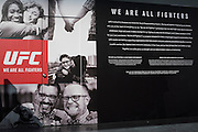 """LAS VEGAS, NV - JULY 10:  UFC """"We Are All Fighters"""" campaign during UFC Fan Expo Day 3 at the Las Vegas Convention Center on July 10, 2016 in Las Vegas, Nevada. (Photo by Cooper Neill/Zuffa LLC/Zuffa LLC via Getty Images) *** Local Caption ***"""