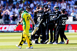 Steve Smith of Australia cuts a dejected figure after being caught out by Martin Guptill of New Zealand off the bowling of Lockie Ferguson of New Zealand - Mandatory by-line: Robbie Stephenson/JMP - 29/06/2019 - CRICKET - Lords - London, England - New Zealand v Australia - ICC Cricket World Cup 2019 - Group Stage