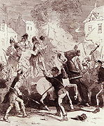 Chartist riots in Birmingham, 15 July 1839.  Illustration from Camden Pelham 'The Chronicles of Crime' , London, 1886. Etching.    Chartism, a movement for social and political reform took its name from The People's Charter of 1838.