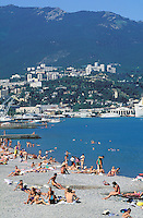 Yalta - Beach on the Ukrainian riviera on the black sea - Crimea - Ukraine