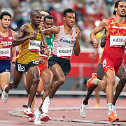TOKYO, JAPAN August 3:  Mohamed Katir of Spain,  Justyn Knight of Canada and Jacob Kiplimo of Uganda in action during the Men's 5000m round one heat two race at the Olympic Stadium during the Tokyo 2020 Summer Olympic Games on August 3rd, 2021 in Tokyo, Japan. (Photo by Tim Clayton/Corbis via Getty Images)