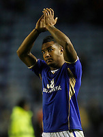 Leicester City's Liam Moore applauds the fans at the final whistle<br /> <br /> Photo by Jack Phillips/CameraSport<br /> <br /> Football - The Football League Sky Bet Championship - Leicester City v Blackburn Rovers - Tuesday 17th September 2013 - King Power Stadium - Leicester <br /> <br /> © CameraSport - 43 Linden Ave. Countesthorpe. Leicester. England. LE8 5PG - Tel: +44 (0) 116 277 4147 - admin@camerasport.com - www.camerasport.com