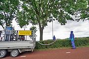 Nederland, Ooij, 8-7-2019 Langs de weg wordt door een gecertificeerd bedrijf de nesten eikenprocessierups bestreden. Het meeste wordt opgezogen en in een afgesloten container te vernietiging aangeboden bij de ARN vuilverbranding .Foto: Flip Franssen