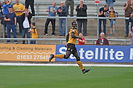 Ismail Yakubu of Newport county celebrates after scoring his side's first goal. Skybet football league two match, Newport county v AFC Wimbledon at Rodney Parade in Newport, South Wales on Saturday 27th Sept 2014<br /> pic by Mark Hawkins, Andrew Orchard sports photography.
