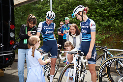 Anna Plichta (POL) and Abi van Twisk (GBR) meet some young fans at Stage 2 of 2019 OVO Women's Tour, a 62.5 km road race starting and finishing in the Kent Cyclopark in Gravesend, United Kingdom on June 11, 2019. Photo by Sean Robinson/velofocus.com
