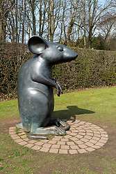 Statue of mouse on  Poet's Path leading to Burns Cottage in Alloway, Ayrshire, Scotland, UK