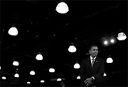 U.S. Democratic presidential candidate Senator Barack Obama (D-IL) listens to his introduction at a town hall meeting in Raleigh, North Carolina, August 19, 2008. Jim Young/Reuters