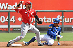 March 20, 2017 - Surprise, AZ, USA - Kansas City Royals' Raul Mondesi is forced out at second by Cincinnati Reds third baseman Eugenio Suarez before completing the double play on Alex Gordon in the first inning on Monday, March 20, 2017 during a spring training baseball game in Surprise, Ariz. (Credit Image: © John Sleezer/TNS via ZUMA Wire)