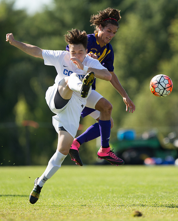 Jansen Aoyama of Colby College during a NCAA Division III soccer game against Williams College on September 19, 2015 in Waterville, ME. (Dustin Satloff/Colby College Athletics)
