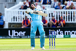 Ben Stokes of England backs away from a short ball - Mandatory by-line: Robbie Stephenson/JMP - 14/07/2019 - CRICKET - Lords - London, England - England v New Zealand - ICC Cricket World Cup 2019 - Final