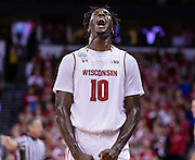 Wisconsin's Nigel Hayes reacts after missing a free throw which would have given Hayes a triple double in an NCAA college basketball game against Syracuse. (AP Photo/Andy Manis)