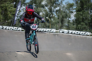 #104 (HEBERT Avriana) CAN during practice at round 1 of the 2018 UCI BMX Supercross World Cup in Santiago del Estero, Argentina.