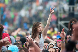 Fans as Example plays in the Main Stage, Rockness, Saturday, 11th June 2011..RockNess 2011, the annual music festival which takes place in Scotland at Clune Farm, Dores, on the banks of Loch Ness near Inverness..Pic ©2011 Michael Schofield. All Rights Reserved..