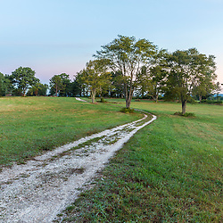 A clam shell road in a field on Sagamore Hill in Hamilton, Massachusetts.