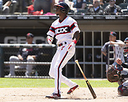CHICAGO - JUNE 02:  Tim Anderson #7 of the Chicago White Sox hits a home run against the Cleveland Indians on June 2, 2019 at Guaranteed Rate Field in Chicago, Illinois.  (Photo by Ron Vesely)  Subject:  Tim Anderson