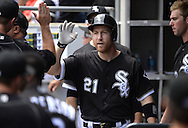 CHICAGO - JUNE 30:  Todd Frazier #21 of the Chicago White Sox celebrates with teammates during the game against the Minnesota Twins on June 30, 2016 at U.S. Cellular Field in Chicago, Illinois.  The White Sox defeated the Twins 6-5.  (Photo by Ron Vesely) Subject:    Todd Frazier