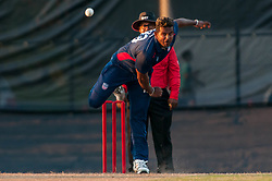 September 22, 2018 - Morrisville, North Carolina, US - Sept. 22, 2018 - Morrisville N.C., USA - Team USA ROY SILVA (43) delivers during the ICC World T20 America's ''A'' Qualifier cricket match between USA and Canada. Both teams played to a 140/8 tie with Canada winning the Super Over for the overall win. In addition to USA and Canada, the ICC World T20 America's ''A'' Qualifier also features Belize and Panama in the six-day tournament that ends Sept. 26. (Credit Image: © Timothy L. Hale/ZUMA Wire)