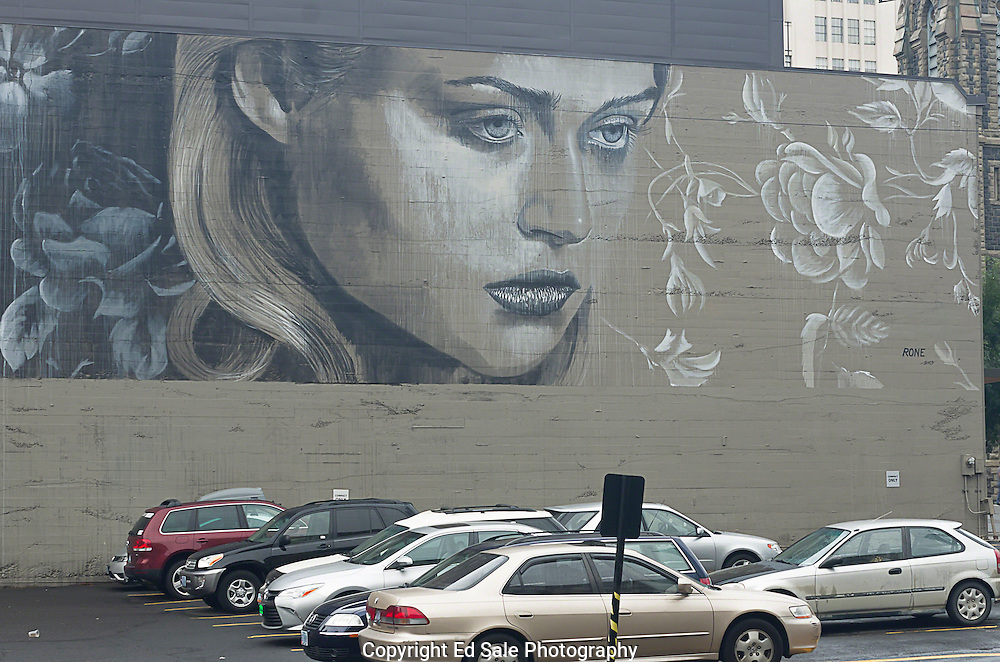 The face of woman is painted on a building wall in downtown Portland, Oregon by the artist, Rone in 2013. The painting is part of the nonprofit art project called Forest for the Trees.