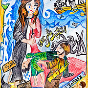 Drawing by one of the finalists in a painting competition organised by YAPD, a local Egyptian partner of Save the Children (UK). YAPD works with communities close to Alexandria whose children participate in 'irregular migration' to Europe. The competition was designed to raise awareness of the risks involved and promote consideration of alternatives.
