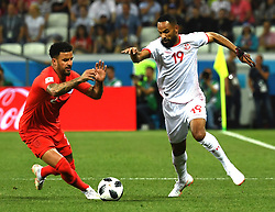 VOLGOGRAD, June 18, 2018  Kyle Walker (L) of England vies with Saber Khalifa of Tunisia during a group G match between Tunisia and England at the 2018 FIFA World Cup in Volgograd, Russia, June 18, 2018. England won 2-1. (Credit Image: © Chen Cheng/Xinhua via ZUMA Wire)