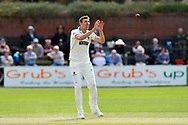 Wicket - Craig Overton of Somerset taking the wicket of Josh Tongue of Worcestershire caught and bowled during the Specsavers County Champ Div 1 match between Somerset County Cricket Club and Worcestershire County Cricket Club at the Cooper Associates County Ground, Taunton, United Kingdom on 22 April 2018. Picture by Graham Hunt.