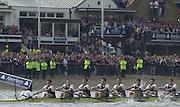 Putney, London   <br /> 2002 Varsity Boat Race. <br /> Photo Peter Spurrier<br /> 2002 Boat Race<br /> 30/03/02<br /> Oxford move along Putney Hard in the opening stage of the race.[Mandatory Credit:Peter SPURRIER/Intersport Images]