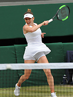 Tennis - 2019 Wimbledon Championships - Week Two, Saturday (Day Twelve)<br /> <br /> Women's Singles, Final: Serena Williams (USA) vs. Simona Halep (ROU)<br /> <br /> Simona Halep, on Centre Court.<br /> <br /> COLORSPORT/ANDREW COWIE