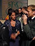 Tracey Emin, Opening of Carl Freidman's Counter Editions, Charlotte Rd. 11 March 2003. © Copyright Photograph by Dafydd Jones 66 Stockwell Park Rd. London SW9 0DA Tel 020 7733 0108 www.dafjones.com