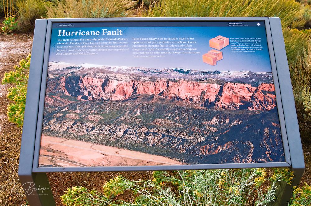 Interpretive sign at the Kolob Canyons Visitor Center, Zion National Park, Utah
