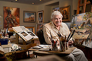 James F. Hutchinson, American Painter at his studio in Stuart FL. Inducted into the Florida Artists Hall of Fame in 2011.