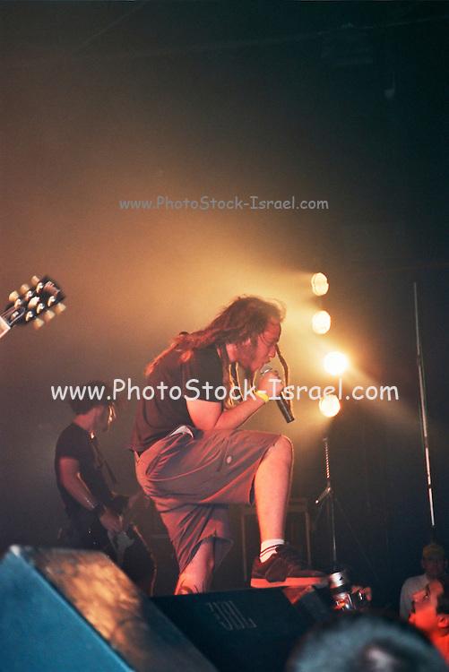 Israel, Tel Aviv, lead singer during a Heavy Metal rock performance