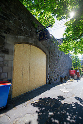 Boarded up City Walls pub. Stirling area lockdown 6/5/2020.