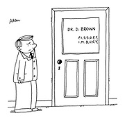 """(GP's door with name and letters spelling out """"Piss off. I'm busy"""")"""