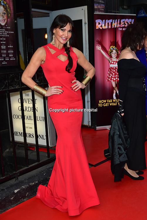 Lizzie Cundy arrives at Ruthless! The Musical - Arts Theatre opening night on 27 March 2018  at Arts Theatre, London, UK.