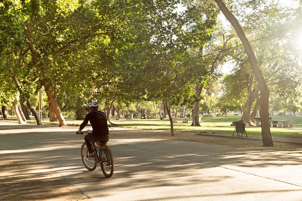 Santiago, Region Metropolitana, Chile - Cyclist riding a bike in a summer evening at Parque O'Higgins in downtown.