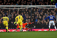 Chelsea goalkeeper Kepa Arrizabalaga (1) saves the penalty from Everton midfielder Gylfi Sigurosson (10) during the Premier League match between Everton and Chelsea at Goodison Park, Liverpool, England on 17 March 2019.