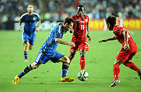 Lionel Messi of Argentina, left, tries to break through Christian Kwesi Annan, center, and Lee Chi-ho of Hong Kong during a friendly football match in Hong Kong, China, 14 October 2014.<br /> <br /> Lionel Messi needed just six minutes to make his mark in Argentina's 7-0 rout of Hong Kong in a friendly at Hong Kong Stadium on Tuesday (14 October 2014). The Barcelona star Messi scored twice after going on as a substitute for the last 30 minutes of the game to celebrate the 100th anniversary of the Hong Kong Football Association. Napoli striker Gonzalo Higuain and Benfica's Nicolas Gaitan also scored two goals each after Sevilla's Ever Banega had opened scoring in the 19th minute.