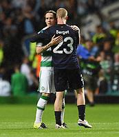 19/08/15 UEFA CHAMPIONS LEAGUE PLAY-OFF 1ST LEG<br /> CELTIC V MALMO<br /> CELTIC PARK - GLASGOW<br /> Stefan Johansen (left) and Malmo goalscorer Jo Inge Berget at full-time.