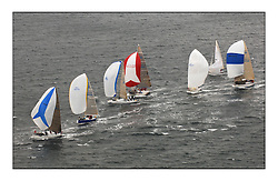 Day 2 of the Bell Lawrie Scottish Series with wild conditions on Loch Fyne for all fleets. Exhilarating and testing racing for Boats and crew..Class 2 3830C Salamander XVIII and GBR9369R Bataleur being followed by IRL9638 Antix & GBR4754T Sunrise.  Fleet following hoisting kites.
